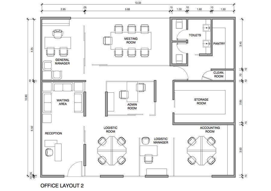 Autocad layout office freelancer for Office layout tool