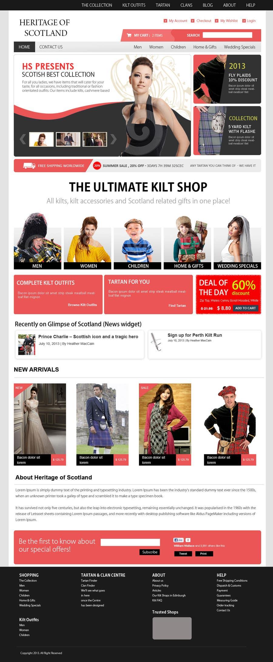 Konkurrenceindlæg #11 for HeritageOfScotland.com - online store graphic design. Functional mockup is ready. Probable job offer for three best designers.