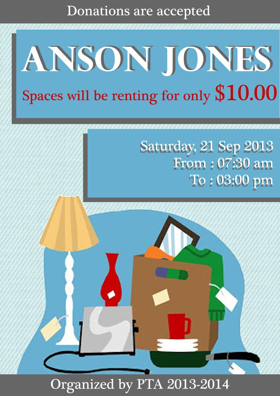 "Inscrição nº 10 do Concurso para Design an Advertisement for Anson Jones ES ""Garage Sale"""