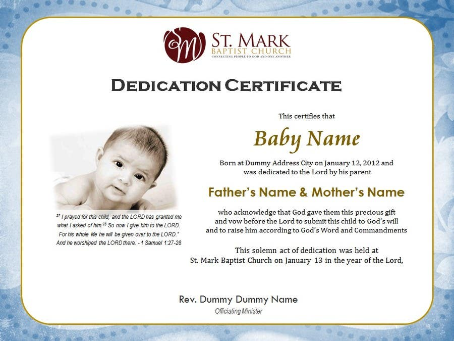 Entry 1 By Margeletteb For Baby Dedication Certificate Freelancer