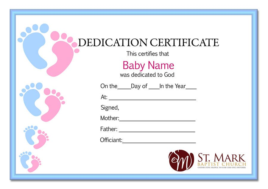 Entry  By Amnkinfo For Baby Dedication Certificate  Freelancer