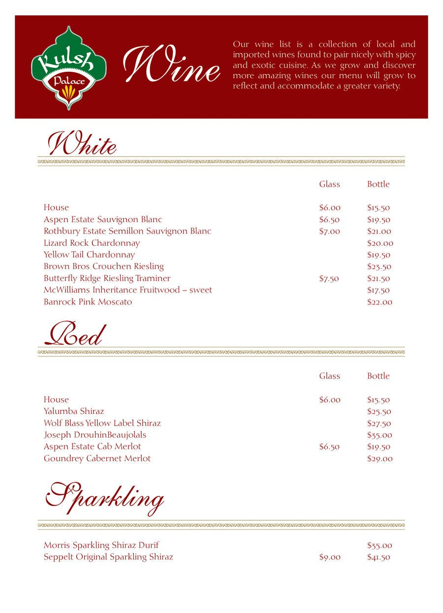 #2 for Design a drinks menu for an Indian restaurant by blackd51th