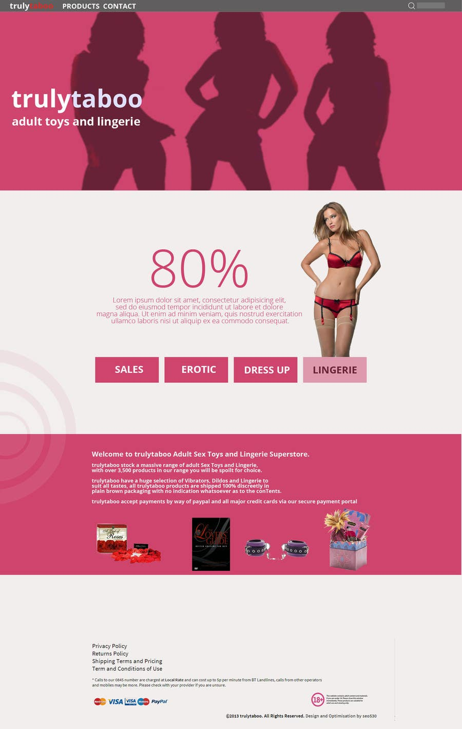 #1 for Design an amazing front page for an adult toys website. by SteinerGrey