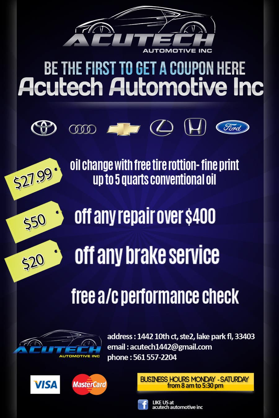 #3 for Design a Flyer for automotive repair shop 4x6 by dindinlx