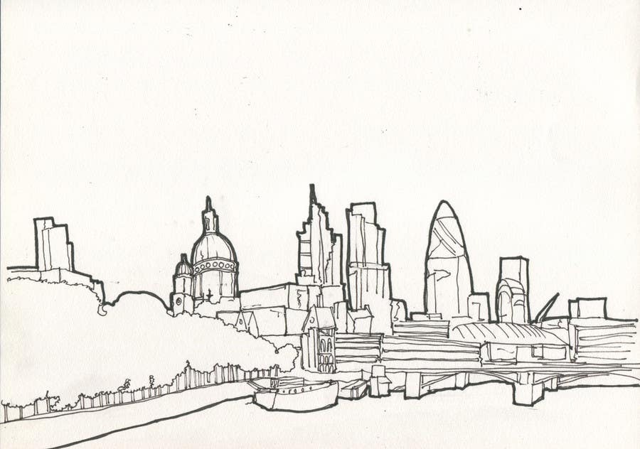 Penyertaan Peraduan #9 untuk B&W Pen & Ink Drawings of Cityscapes Wanted