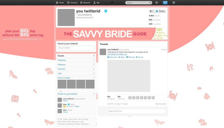 Kilpailutyö #6 kilpailussa Design a Twitter background for a wedding eBook