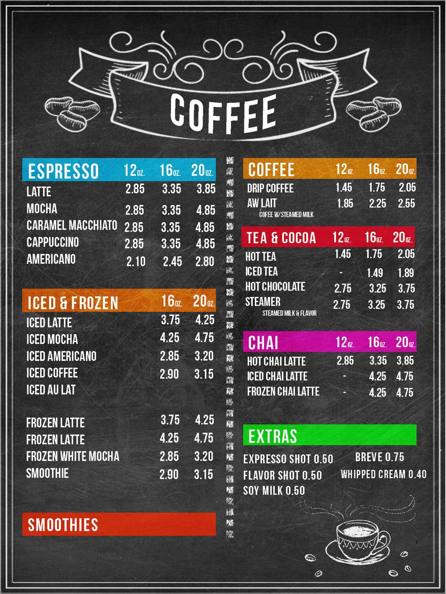 entry #26 by avalenti2 for design menu boards for coffee shop