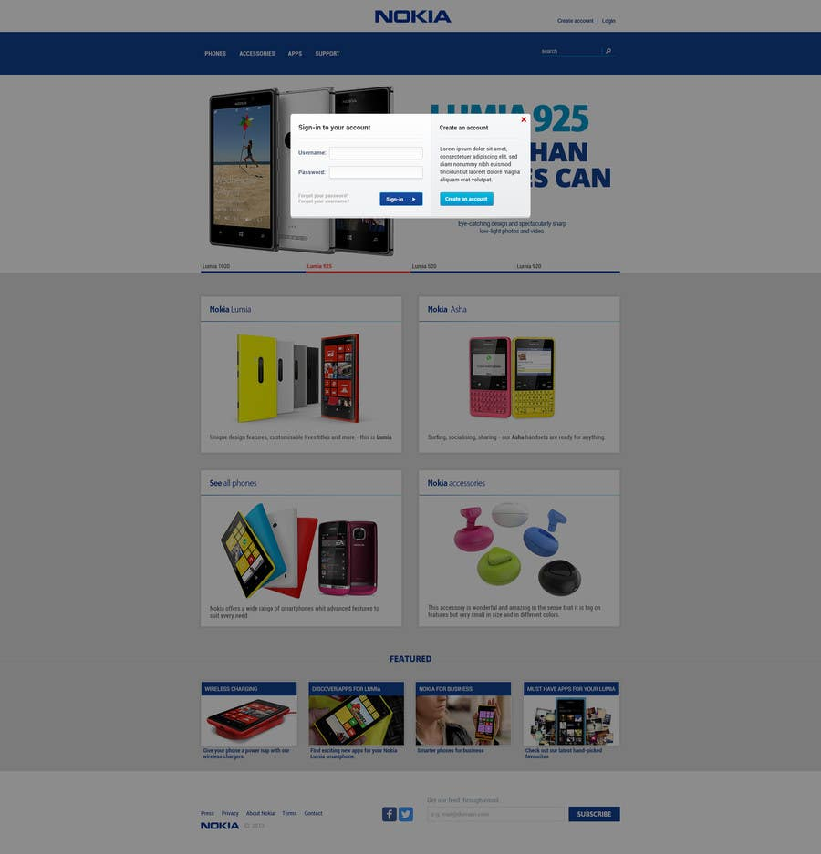 #13 for Design a Website Mockup for Nokia Online Shop - repost by hipnotyka
