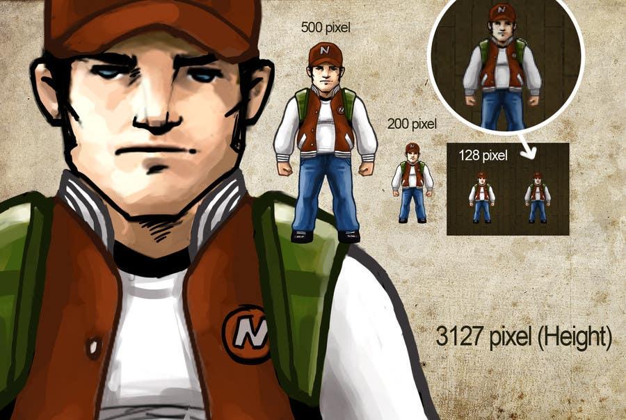 Top Entries - 2D pixel art sprite sheet of main character for an