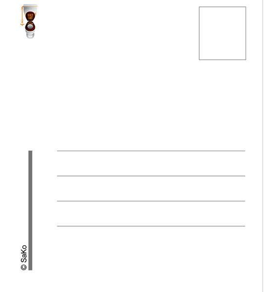 Kilpailutyö #13 kilpailussa just letters on the postcard back