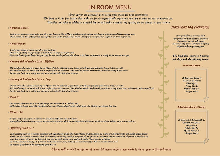 Contest Entry #                                        6                                      for                                         Design In Room Menu for Hotel