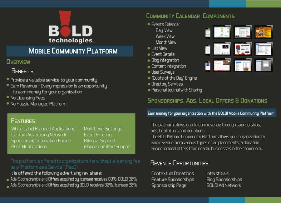 #37 for Design a Brochure for BOLD! Mobile Community Platform by DanaDouqa