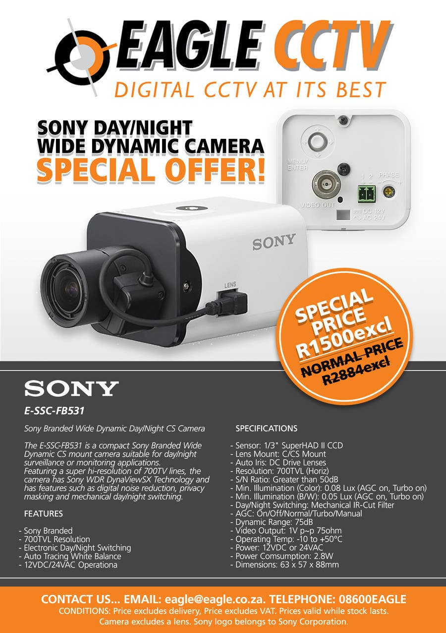 design a flyer for a special offer on sony cctv camera model fb 26 for design a flyer for a special offer on sony cctv camera model fb