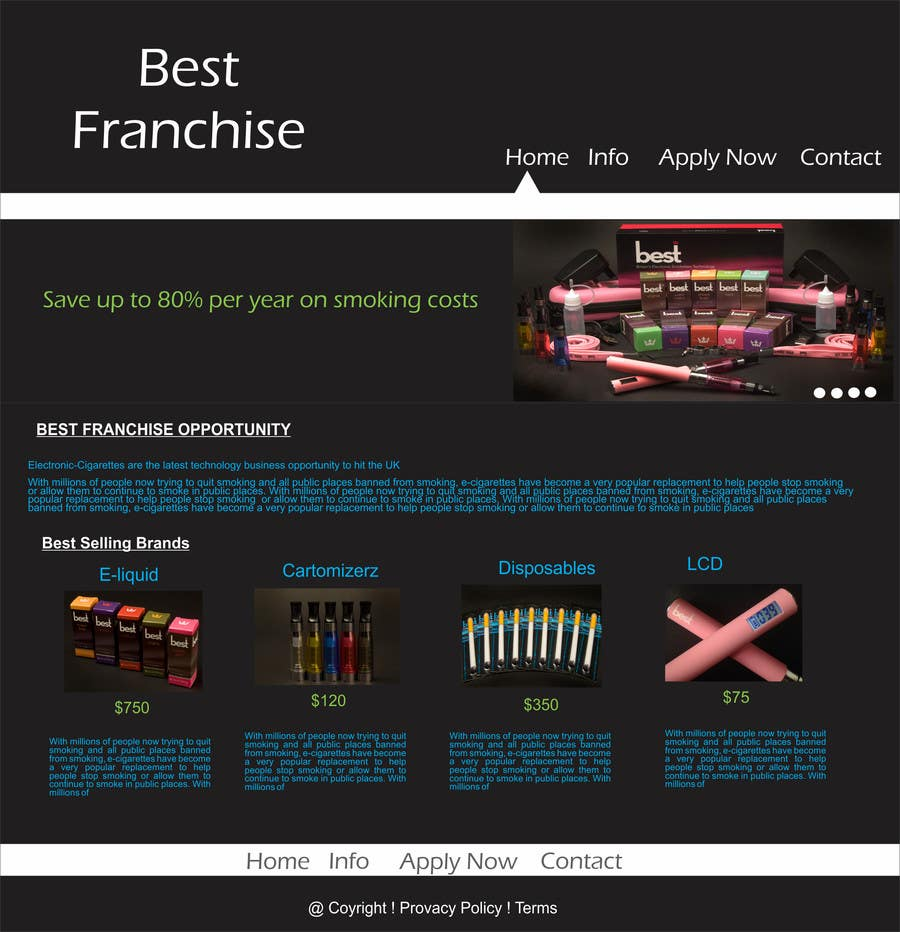 Bài tham dự cuộc thi #25 cho One page website design for franchise