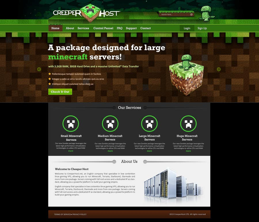 #6 for Design a Website for www.creeperhost.net by timid