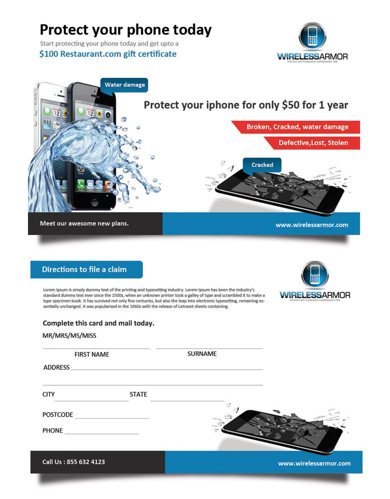 Kilpailutyö #8 kilpailussa Design a Flyer for Wireless Armor