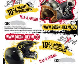 #1 untuk Voucher Design graphic front & Back for helmet brand Size: 7x14cm oleh qgdesign