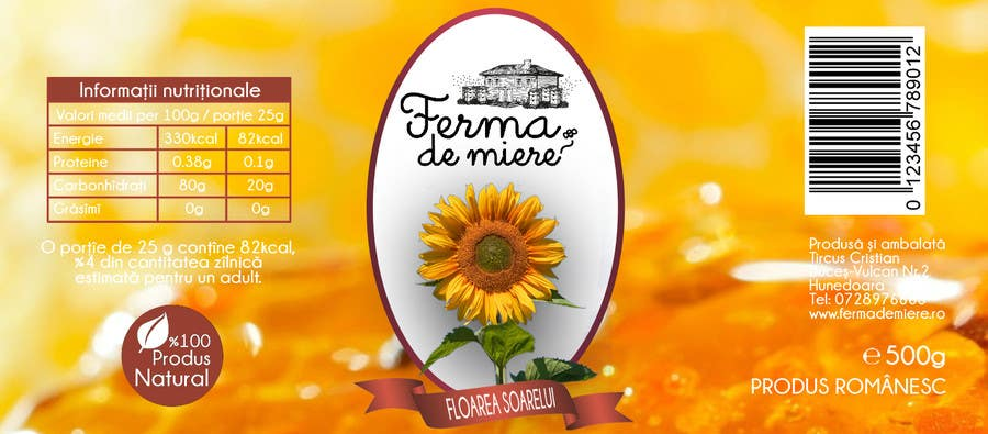 #82 for Label design for Honey Jar (eticheta miere) by oroborus