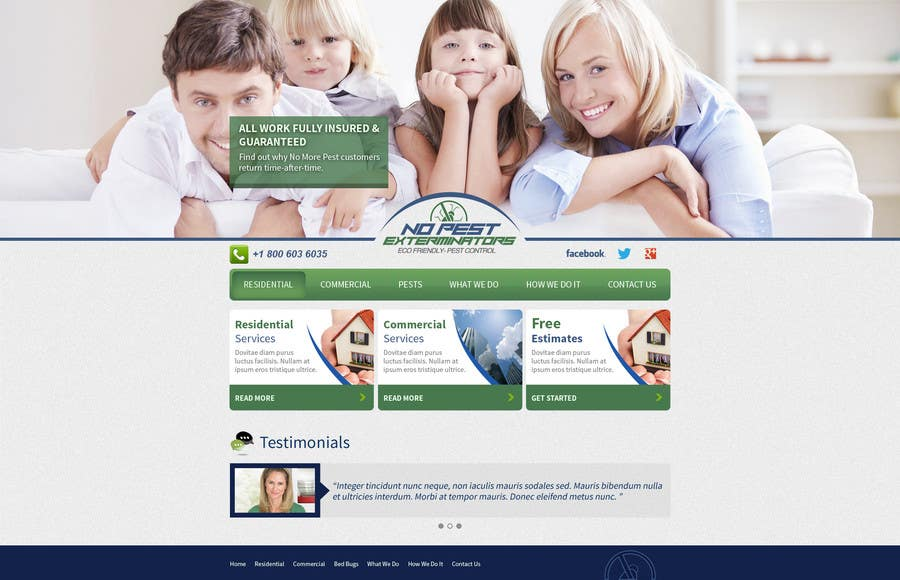 #1 for Build a Website/Splash page for No Pest Exterminators Inc. by tania06