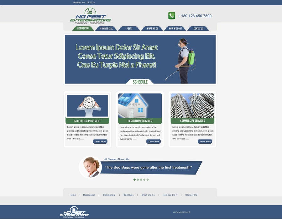 #13 for Build a Website/Splash page for No Pest Exterminators Inc. by gravitygraphics7