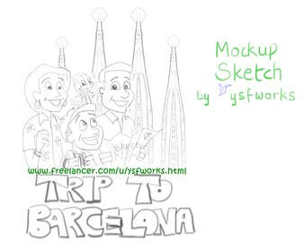 Graphic Design Contest Entry #48 for Barcelona Trip Website Logo with a Character Mascot (read carefully my requirements)
