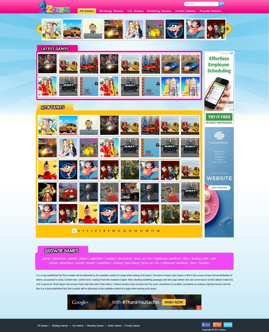 #22 for Design a Mockup for an Online Flash Game Website - Zanru.com by MagicalDesigner