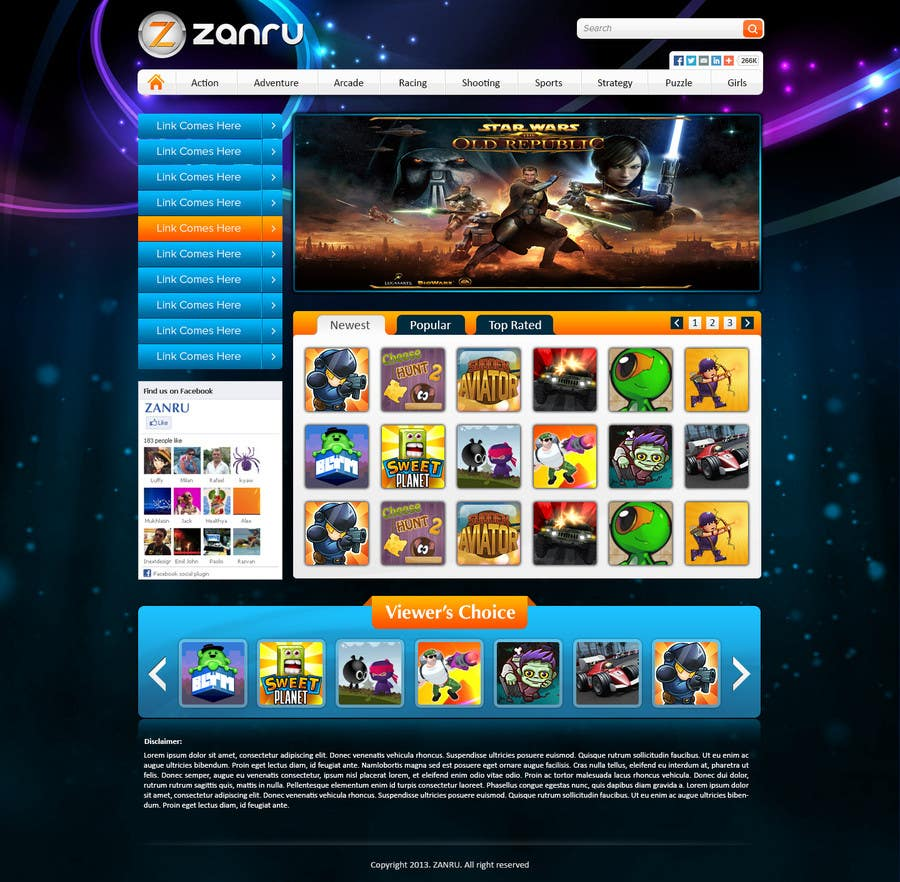 #9 for Design a Mockup for an Online Flash Game Website - Zanru.com by atularora