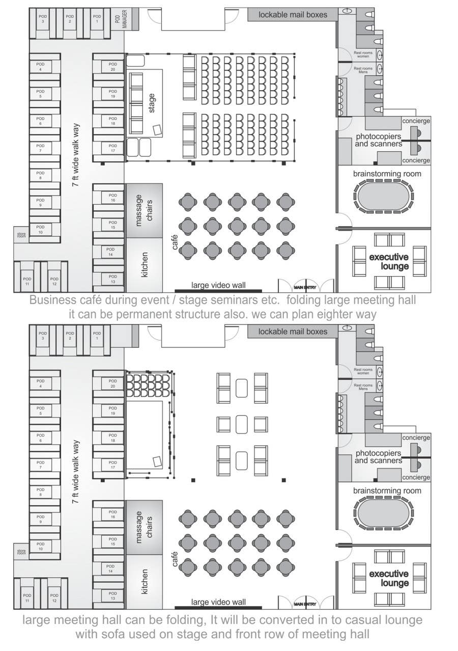 Bài tham dự cuộc thi #                                        17                                      cho                                         Architectural Floorplan Layout for PolarPointe Business Cafe