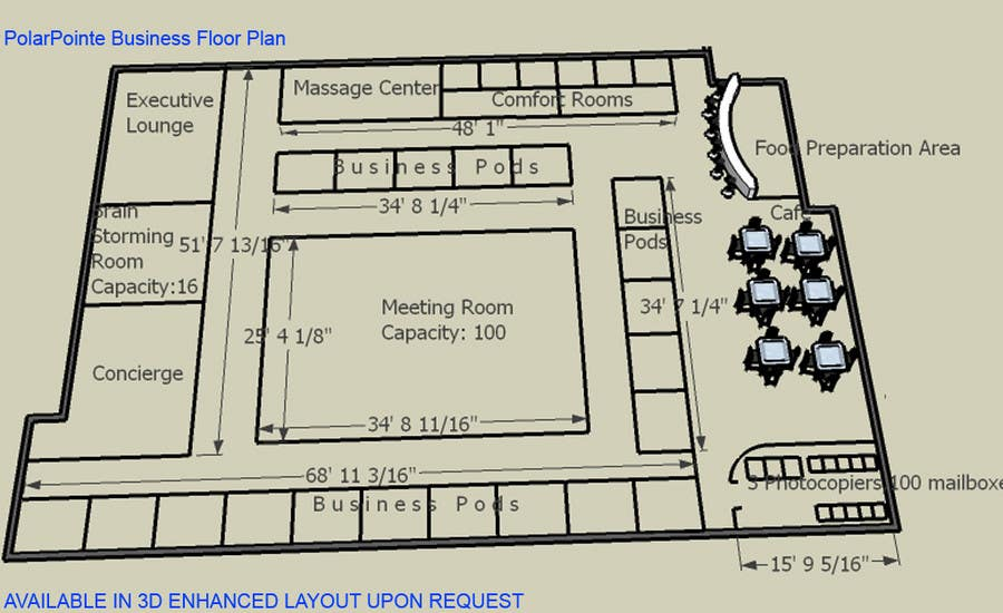 Penyertaan Peraduan #20 untuk Architectural Floorplan Layout for PolarPointe Business Cafe