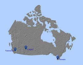 onlyblackcat tarafından Create a Locations Map of Canada With 3 Points için no 5