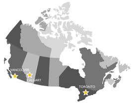 Nro 3 kilpailuun Create a Locations Map of Canada With 3 Points käyttäjältä janeamandasee