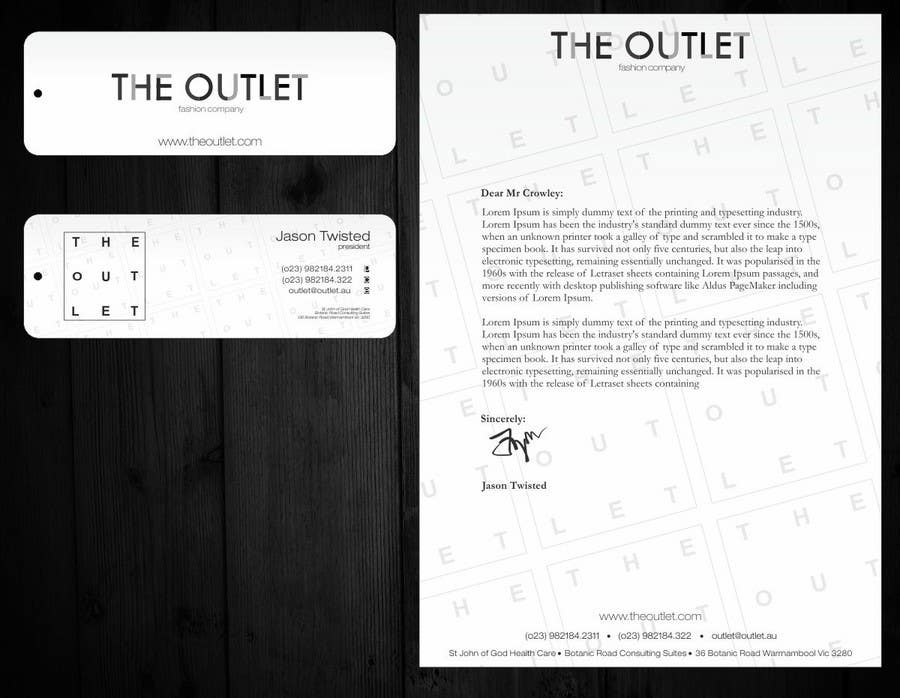 Penyertaan Peraduan #                                        49                                      untuk                                         Business Card Design for The Outlet Fashion Company