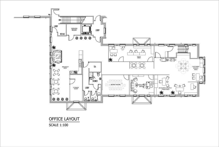 Kilpailutyö #12 kilpailussa Office Floorplan Design
