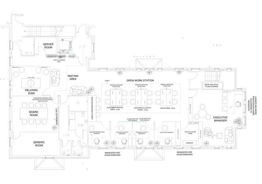 Kilpailutyö #10 kilpailussa Office Floorplan Design