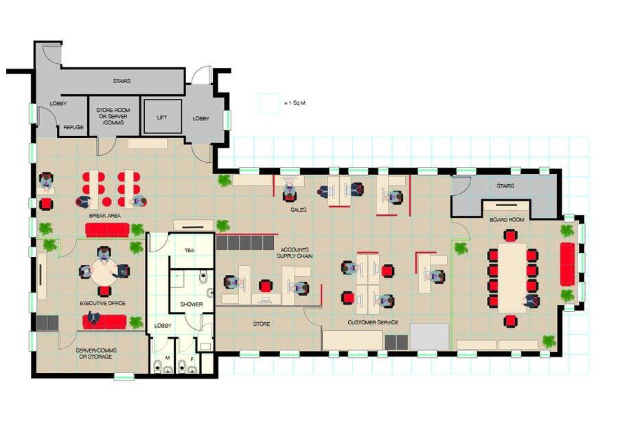 Kilpailutyö #4 kilpailussa Office Floorplan Design