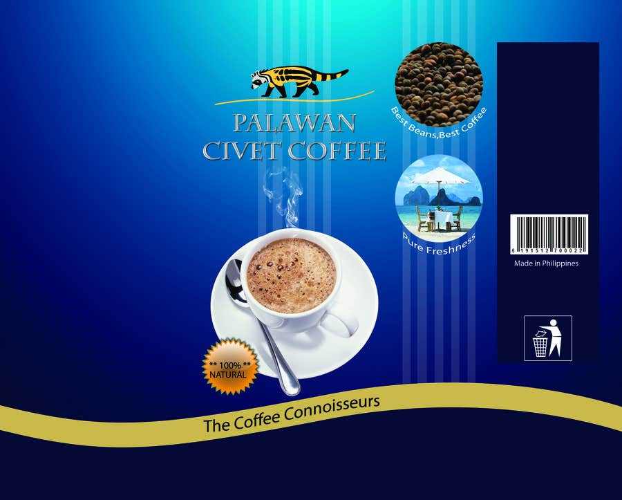 Penyertaan Peraduan #111 untuk LOGO & CIVET CAT design for our product package (Quick Project)
