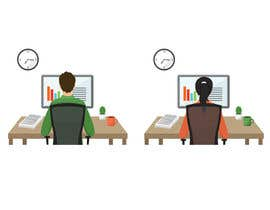 VitalinaLitvin tarafından Man with green shirt sit on office chair in front of table with one monitor için no 60