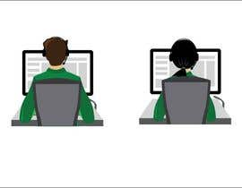 Igladesign tarafından Man with green shirt sit on office chair in front of table with one monitor için no 36