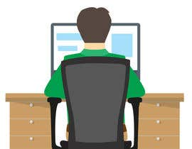 jahidimtiaj tarafından Man with green shirt sit on office chair in front of table with one monitor için no 40