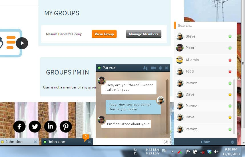 #17 for Design a Chat system like Facebook Chat by badhon86