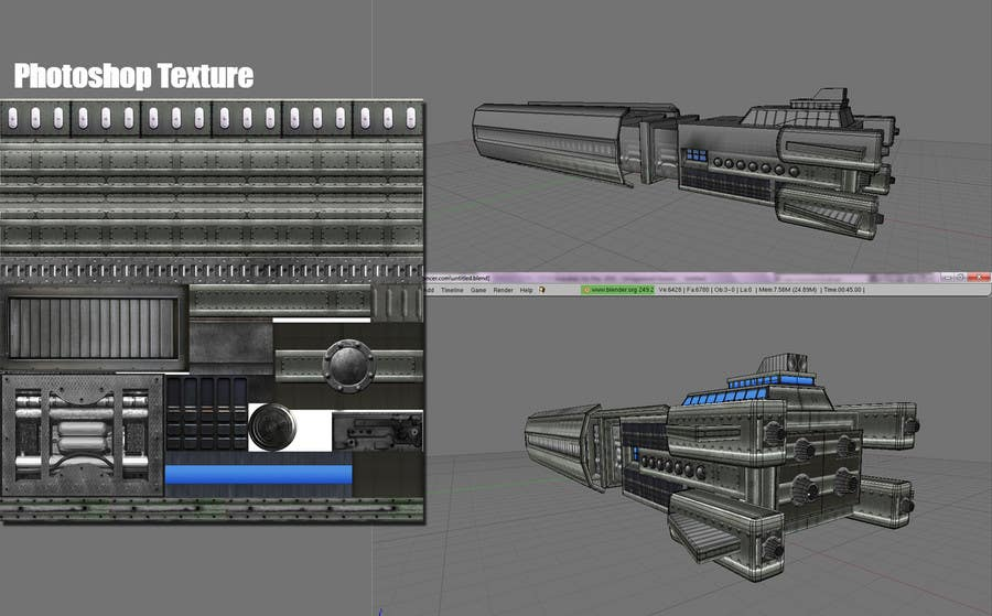Bài tham dự cuộc thi #                                        5                                      cho                                         Concept Art for existing 3D space ship model for SciFi Game