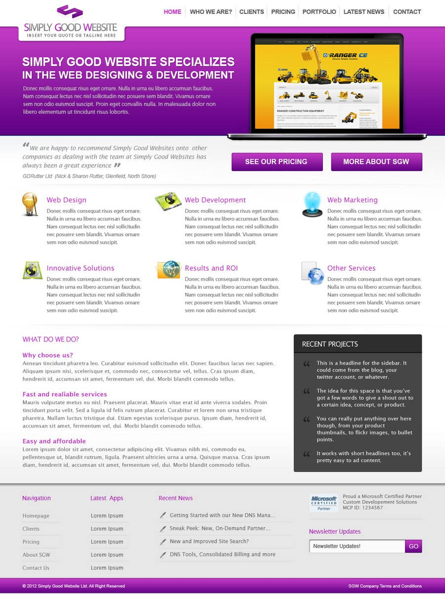Kilpailutyö #79 kilpailussa Website Design for Simply Good Websites Ltd.