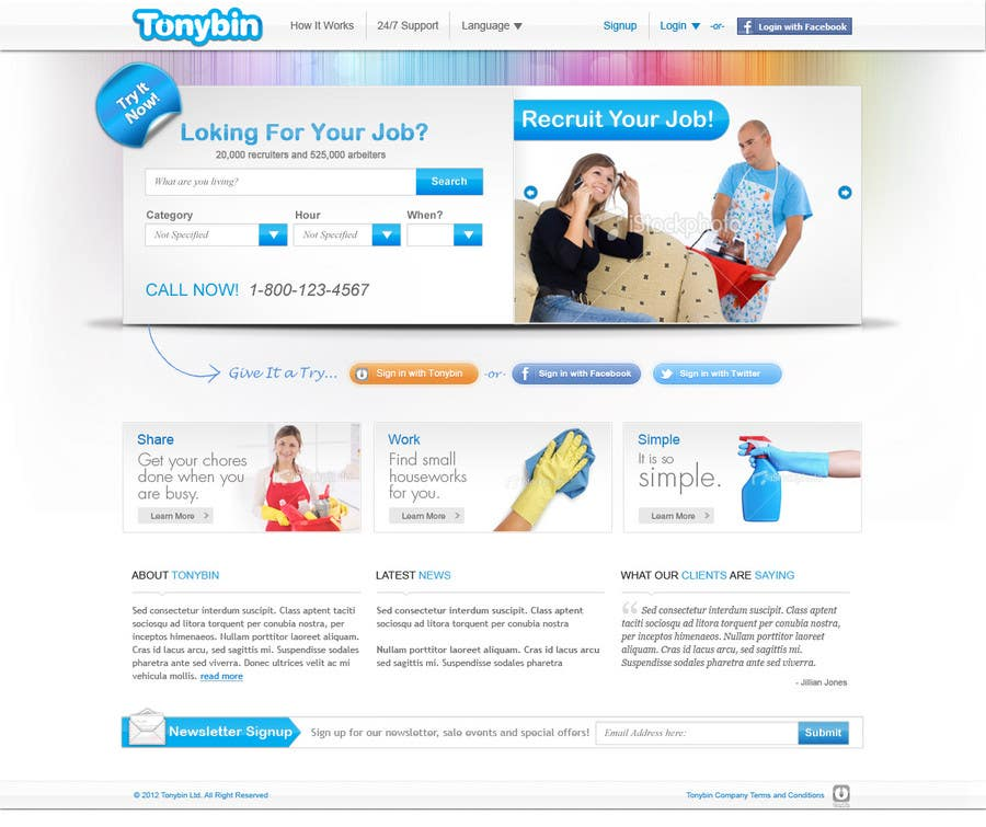 Proposition n°                                        162                                      du concours                                         Website Design for Tonybin (simple and cool designs wanted)