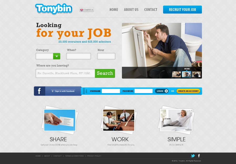 Proposition n°                                        170                                      du concours                                         Website Design for Tonybin (simple and cool designs wanted)