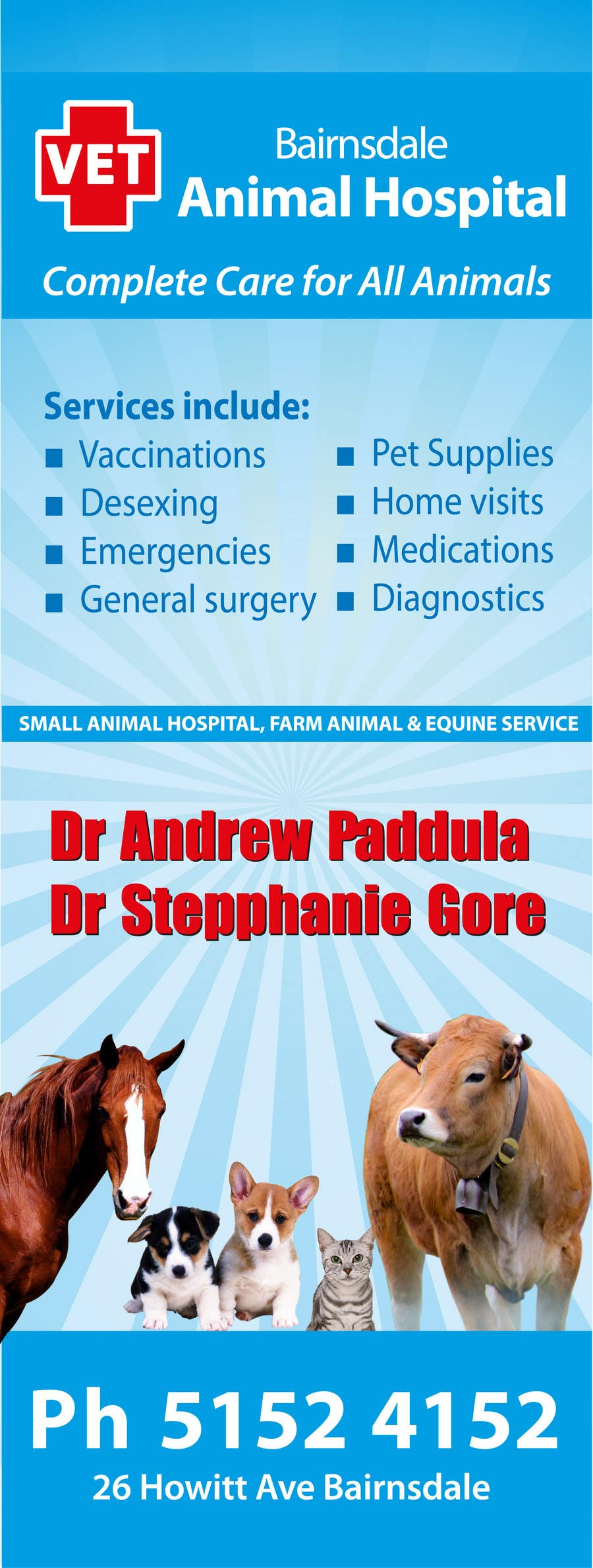 Contest Entry #34 for Graphic Design for Bairnsdale Animal Hospital