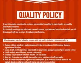 #65 untuk Design a Flyer for a Quality Policy Document oleh sanpatel