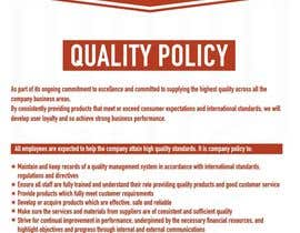 #92 untuk Design a Flyer for a Quality Policy Document oleh sanpatel