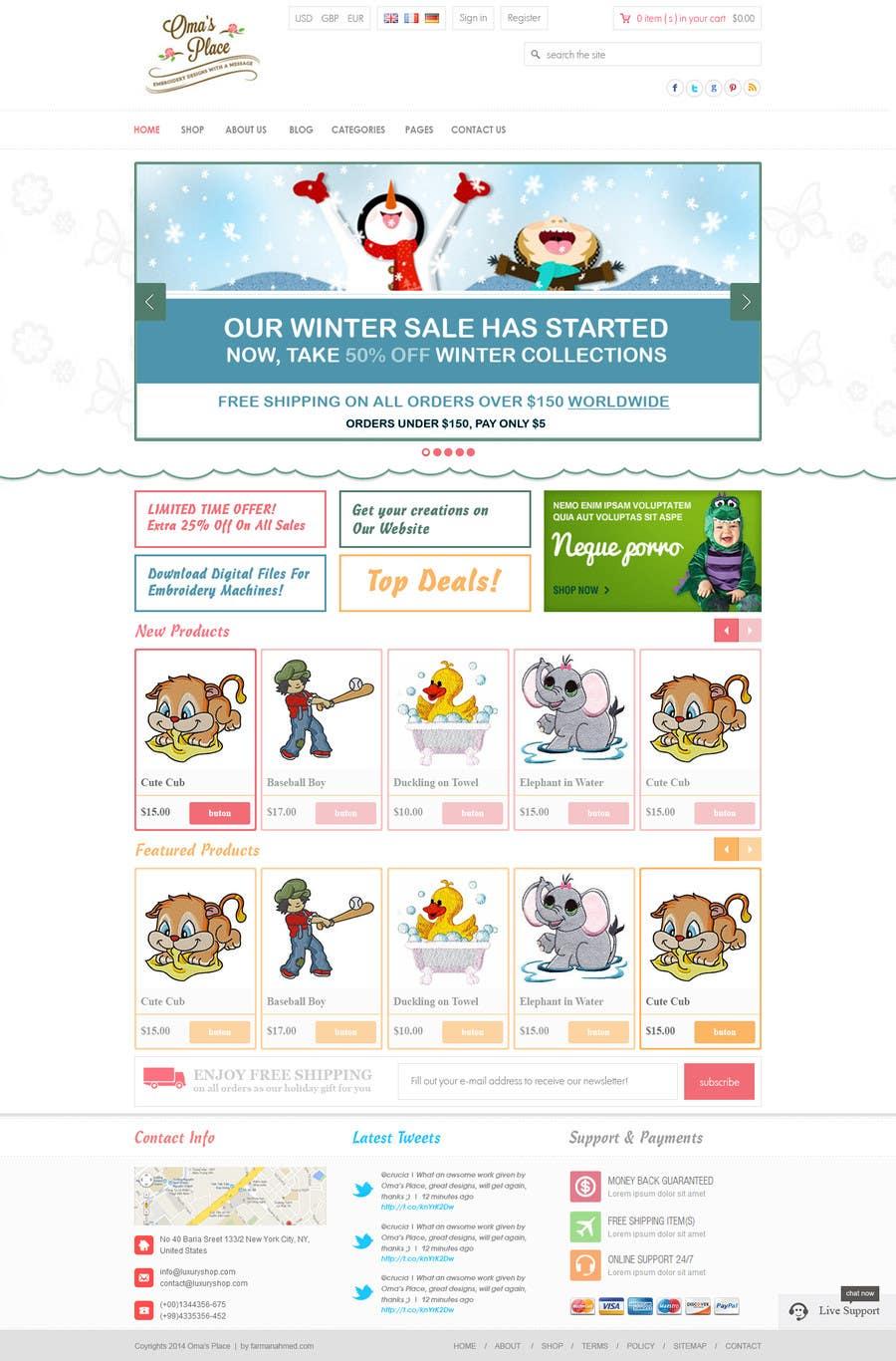 Kilpailutyö #10 kilpailussa Design a Website Mockup for Oma's Place.com