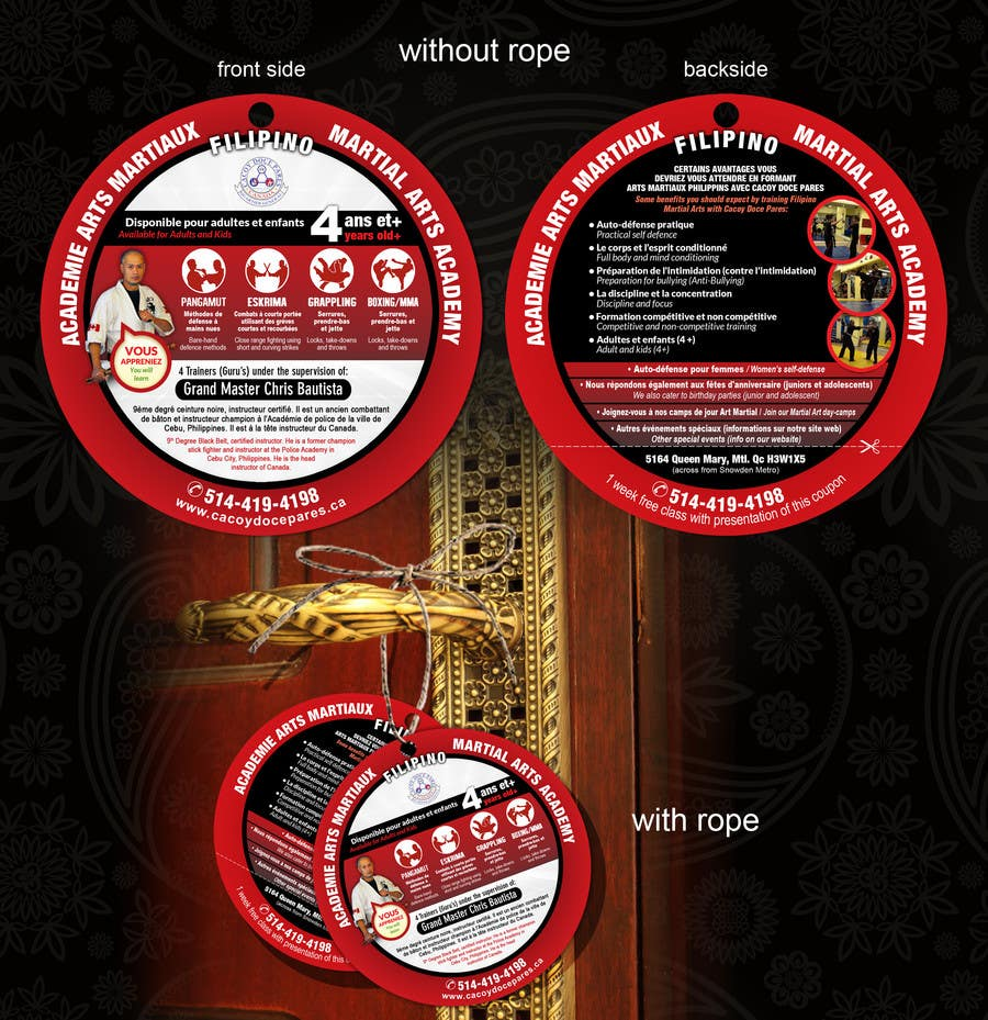 Konkurrenceindlæg #11 for Design a door hanger/brochure for a Filipino Martial Arts dojo in Montreal