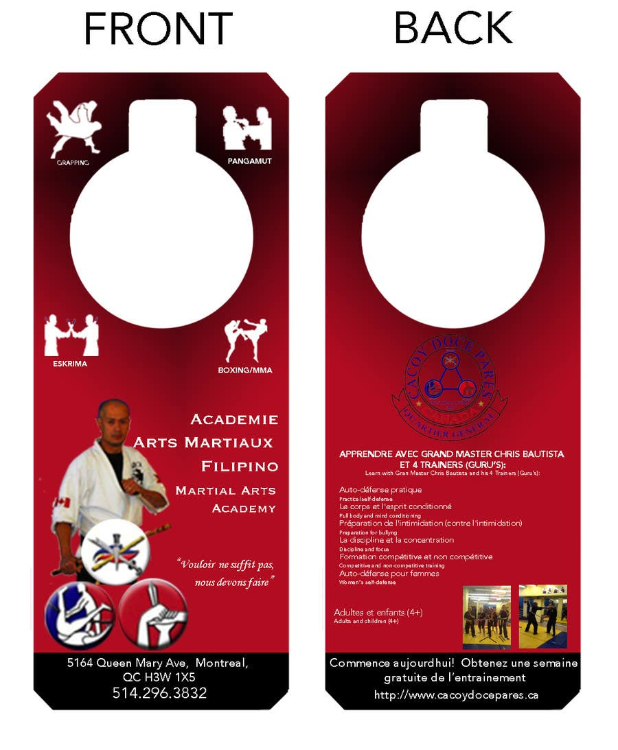 Konkurrenceindlæg #14 for Design a door hanger/brochure for a Filipino Martial Arts dojo in Montreal